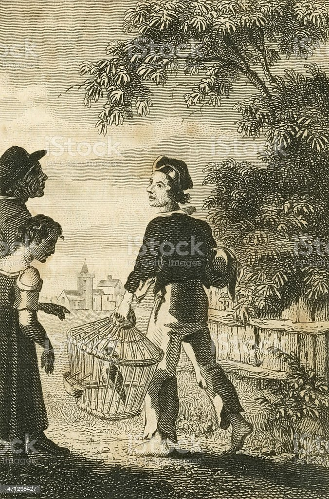 Regency era people with caged parrot (c1830 engraving) vector art illustration