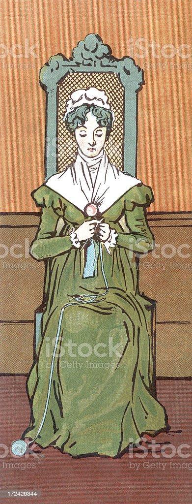 Regency era woman knittting royalty-free stock vector art