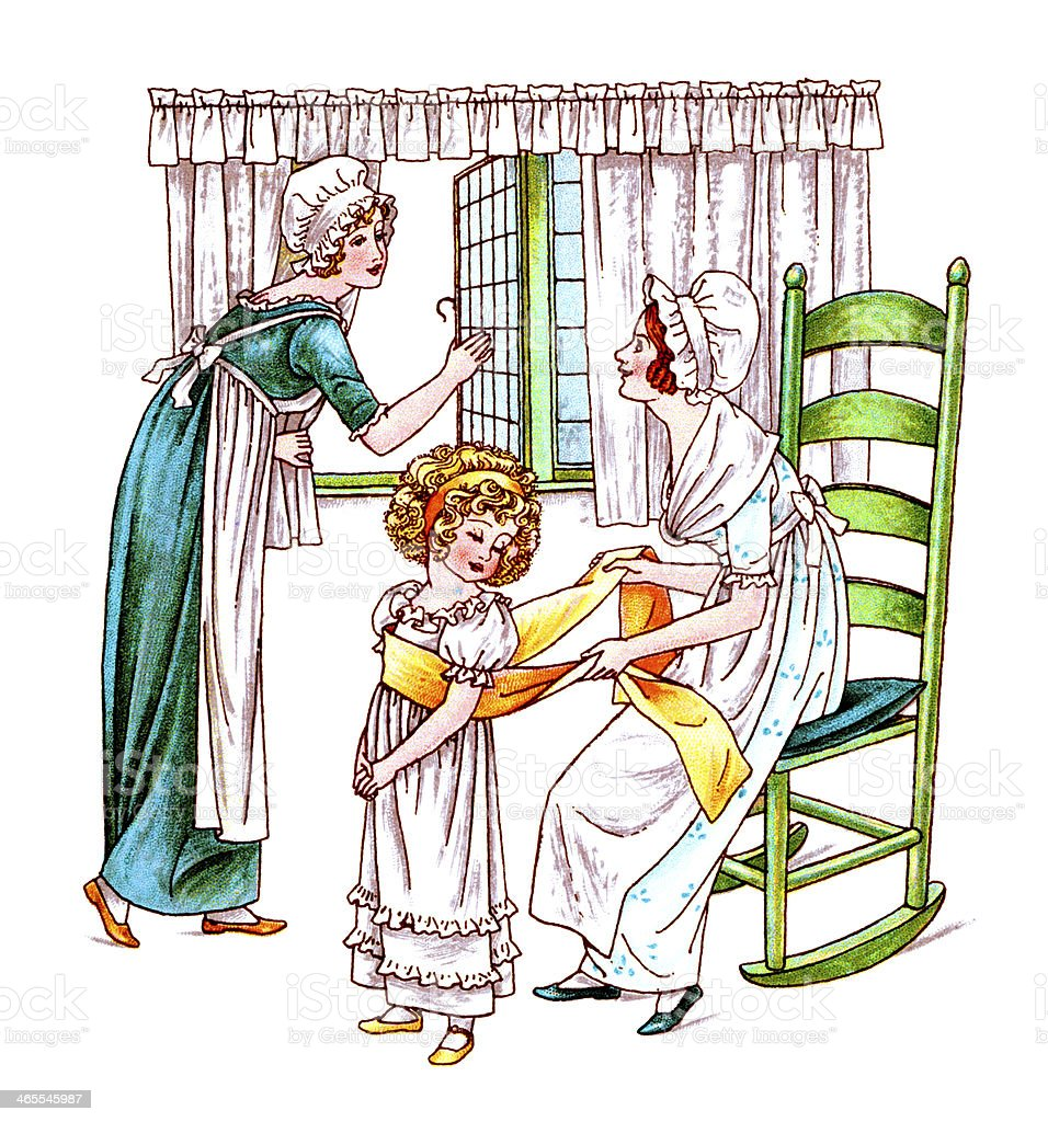 Regency era women and child vector art illustration