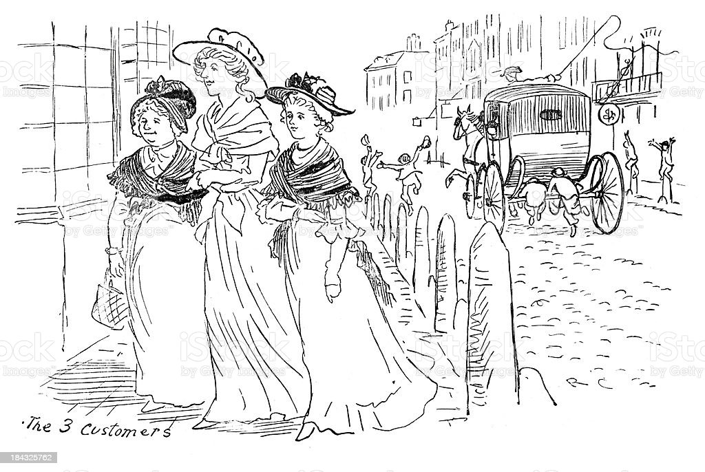 Regency Ladies out Shopping vector art illustration