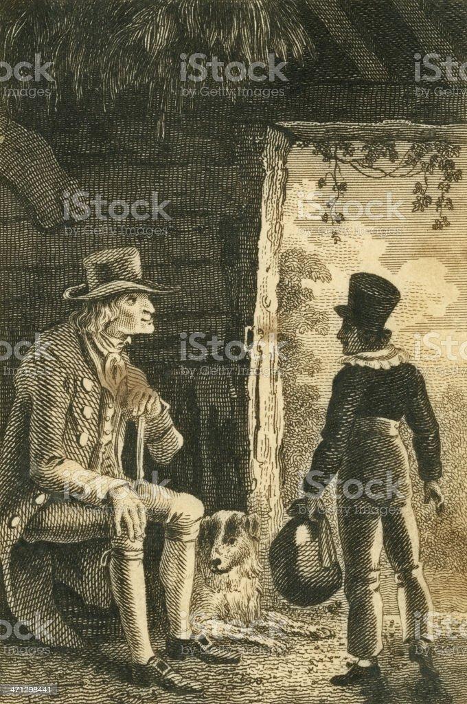 Regency man and boy sheltering in a barn (c1830 engraving) vector art illustration