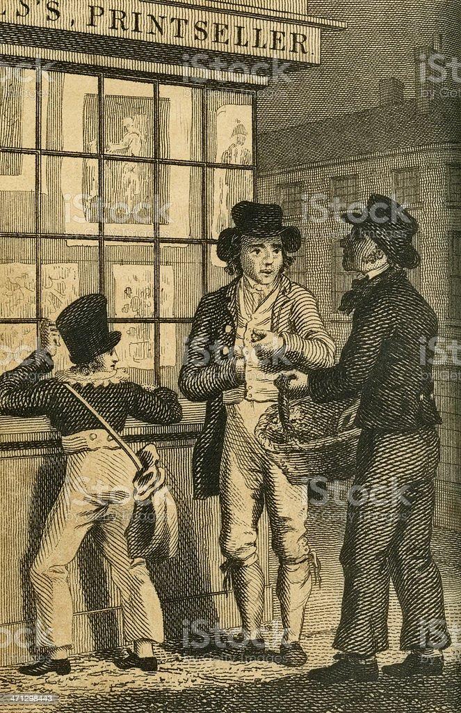 Regency men and boy outside a printers shop (c1830 engraving) royalty-free stock vector art