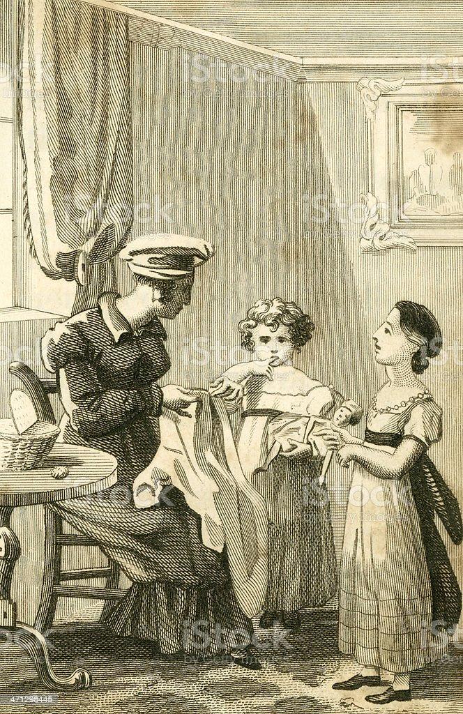 Regency mother and children (c1830 engraving) vector art illustration