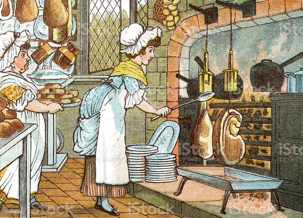 Regency period cooks in a kitchen vector art illustration