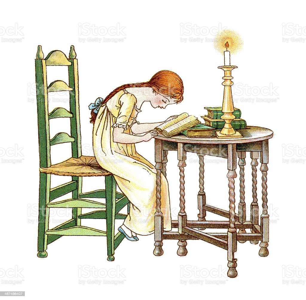 Regency period girl reading by candlelight vector art illustration