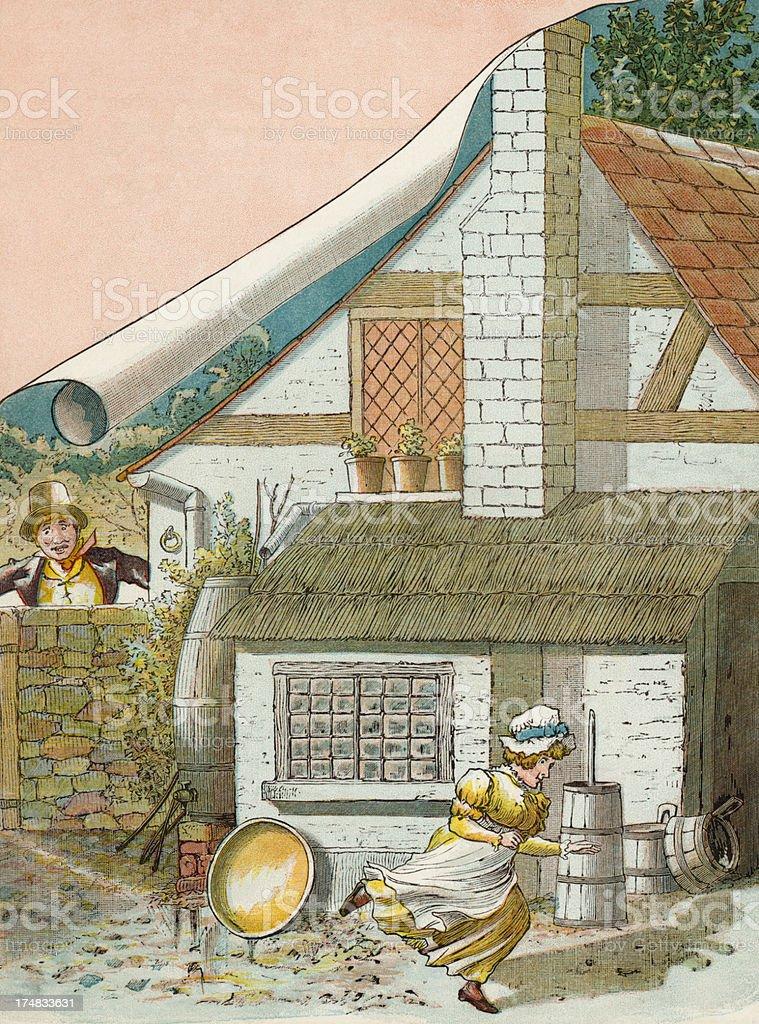 Regency period man chasing a woman vector art illustration