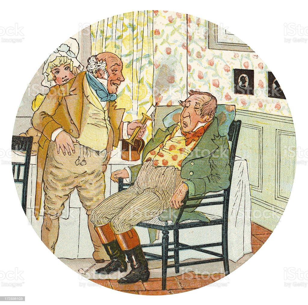 Regency period man dozing off vector art illustration