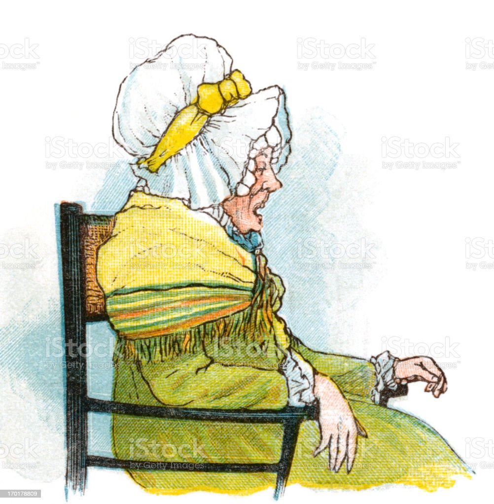 Regency period old woman in a chair vector art illustration