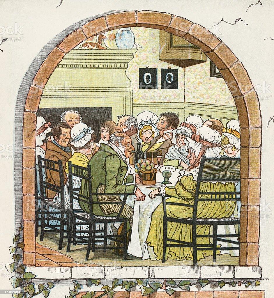 Regency period people at dinner vector art illustration