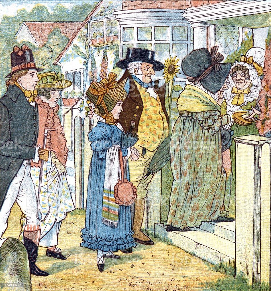 Regency period people going visiting vector art illustration