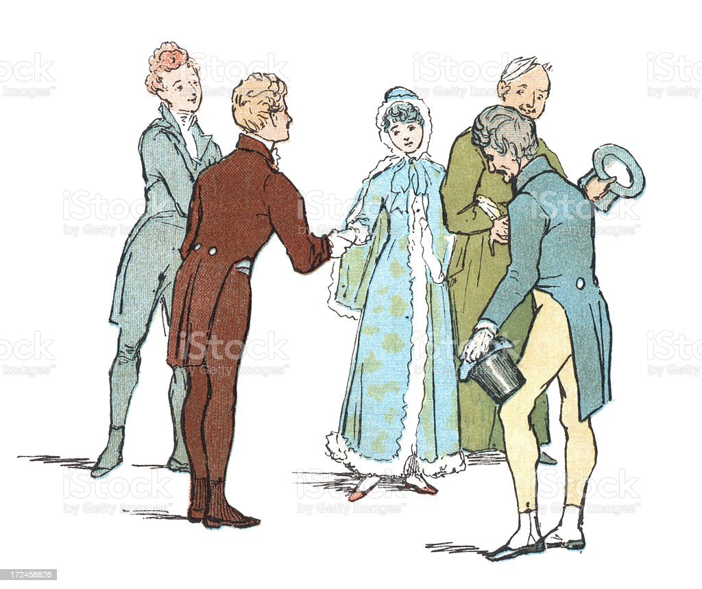 Regency period people saying goodbye vector art illustration