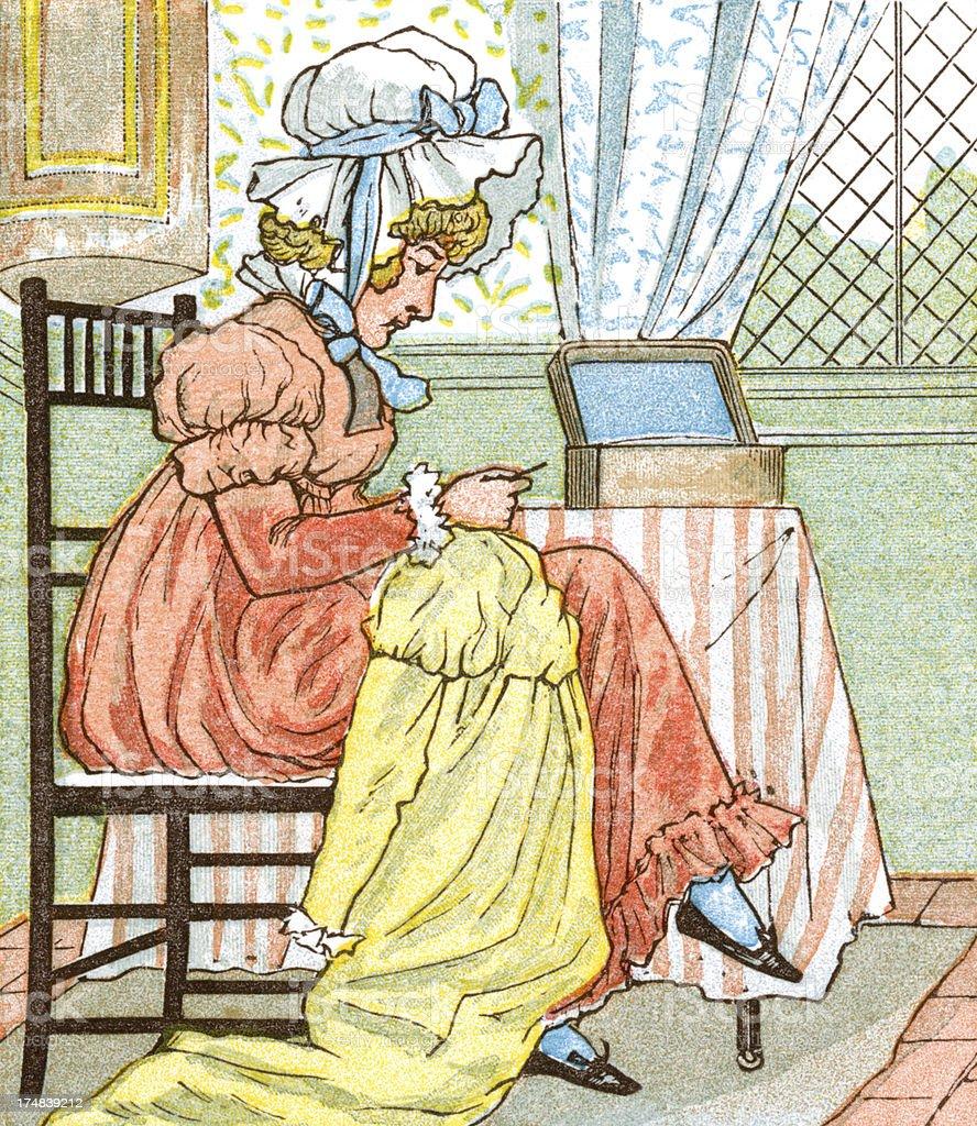Regency period woman sewing royalty-free stock vector art