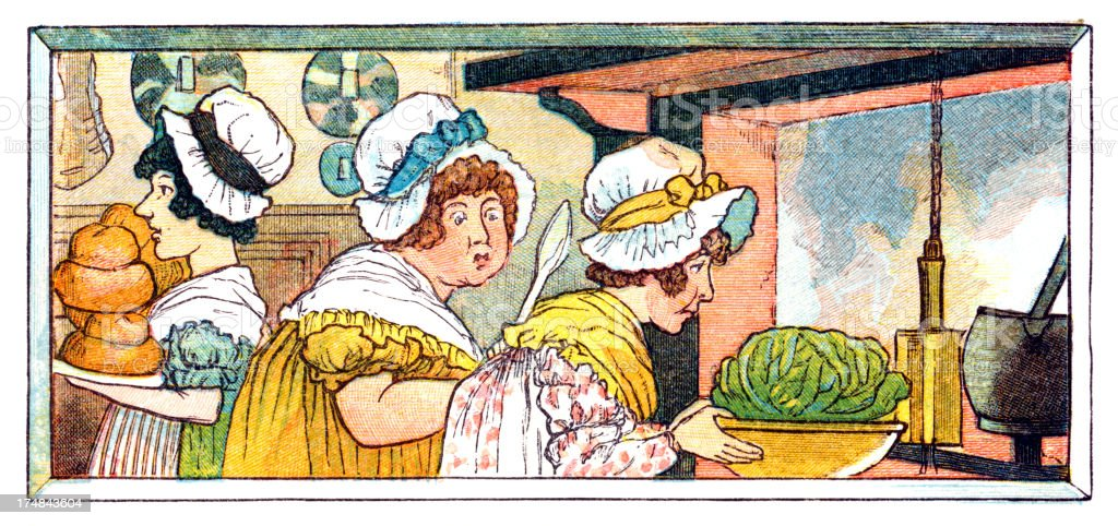 Regency period women preparing food royalty-free stock vector art