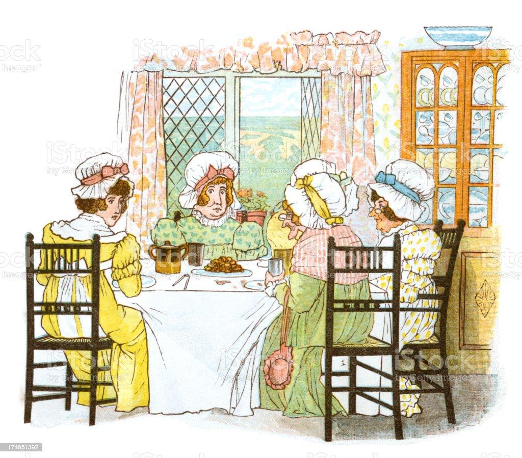 Regency period women's tea party vector art illustration
