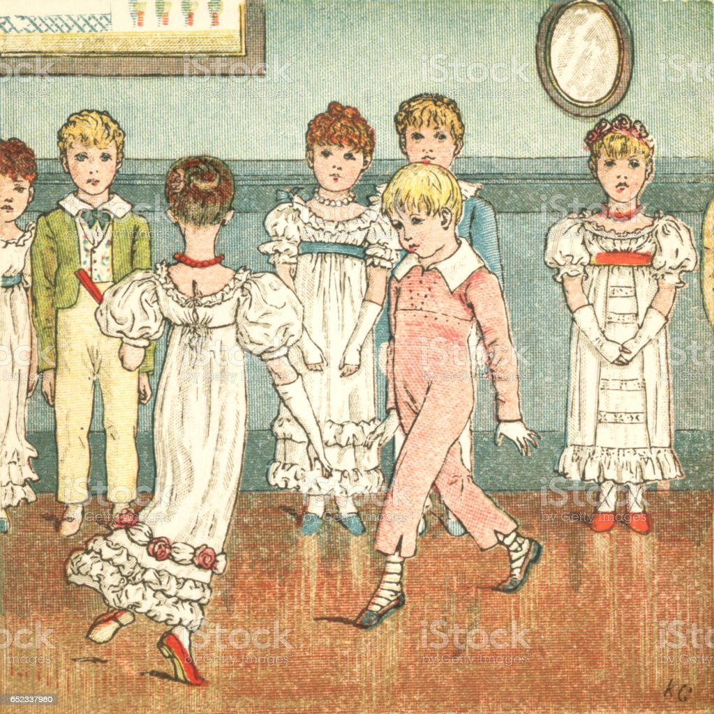 Regency style children dancing vector art illustration