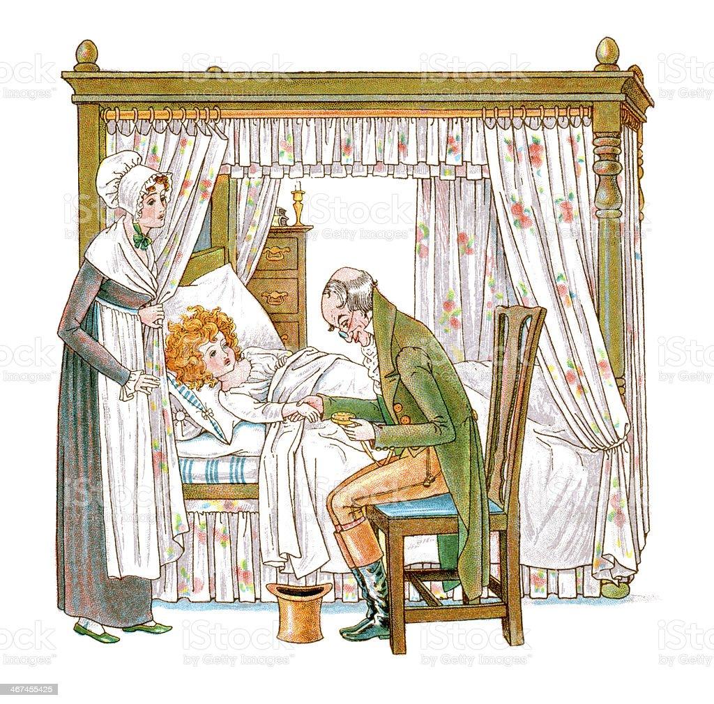 Regency style doctor tending a sick child vector art illustration
