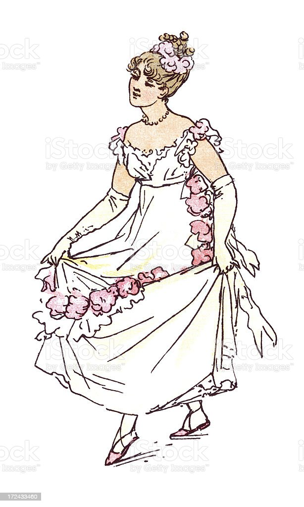 Regency style lady curtseying royalty-free stock vector art