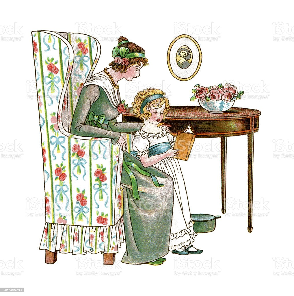 Regency style mother and daughter reading vector art illustration