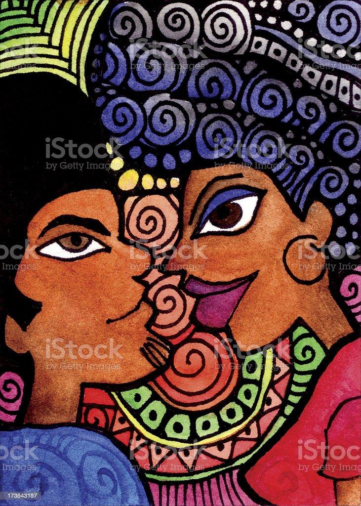 Reggae Couple vector art illustration