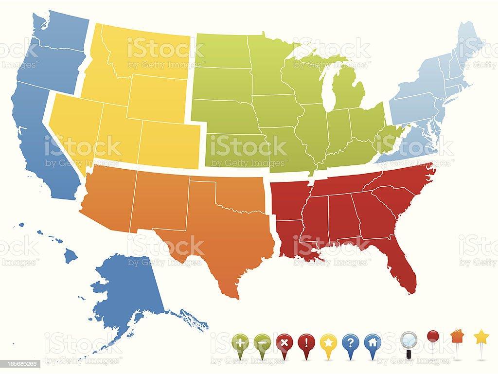 USA GPS Region Pin Map vector art illustration