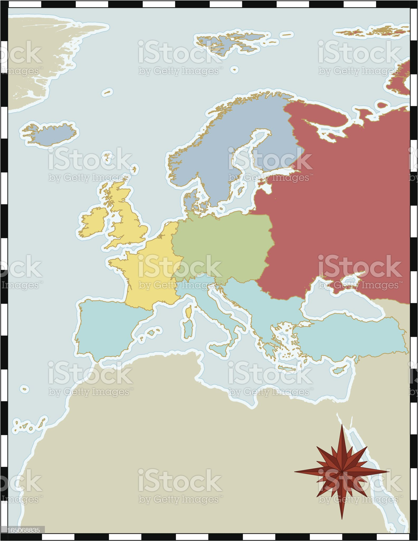 Regional Map of Europe royalty-free stock vector art