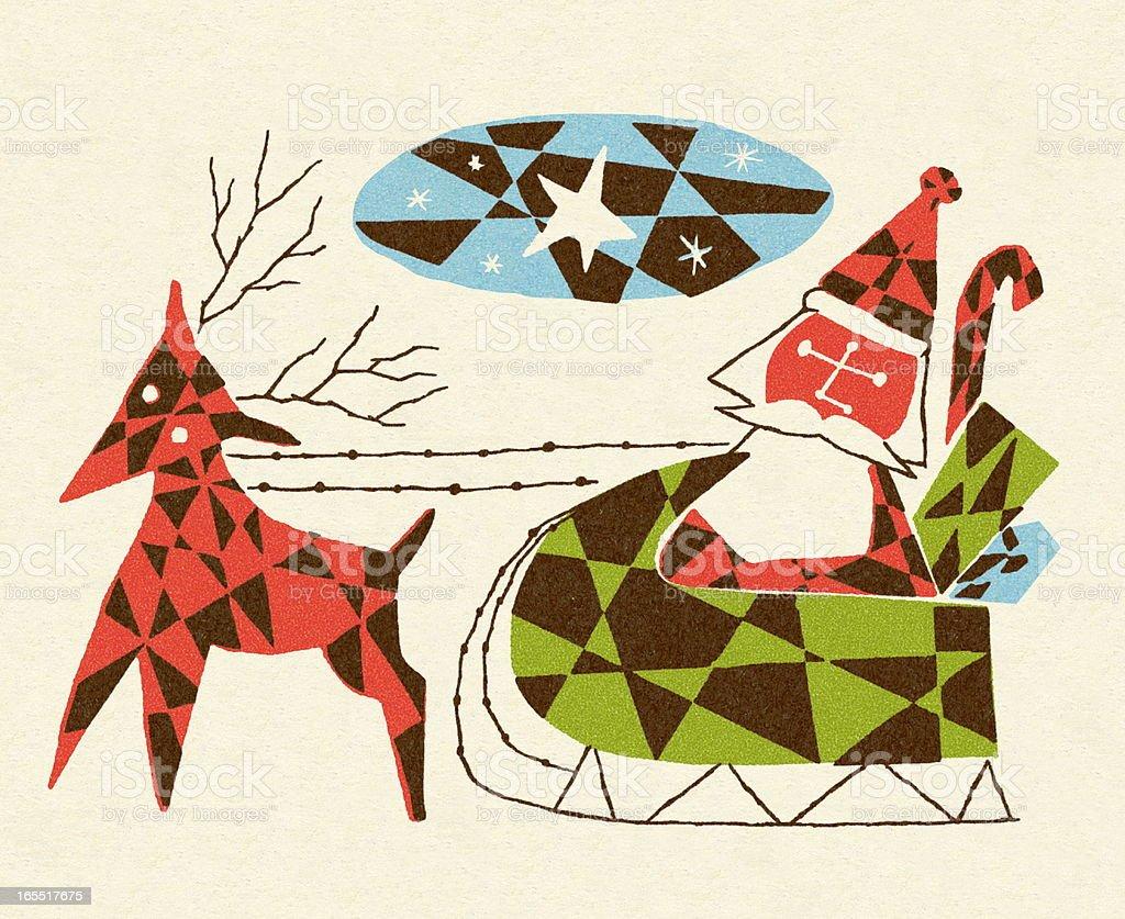 Reindeer and Santa in Sleigh royalty-free stock vector art