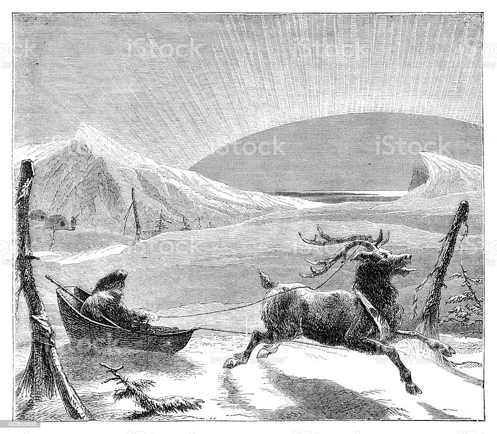 Reindeer Pulling Man In Sleigh vector art illustration