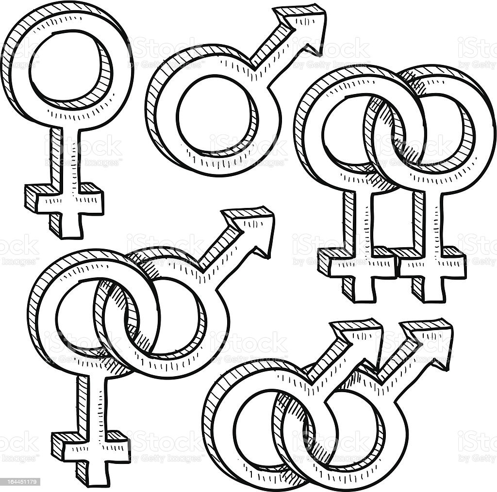 Relationship gender symbol vectors vector art illustration