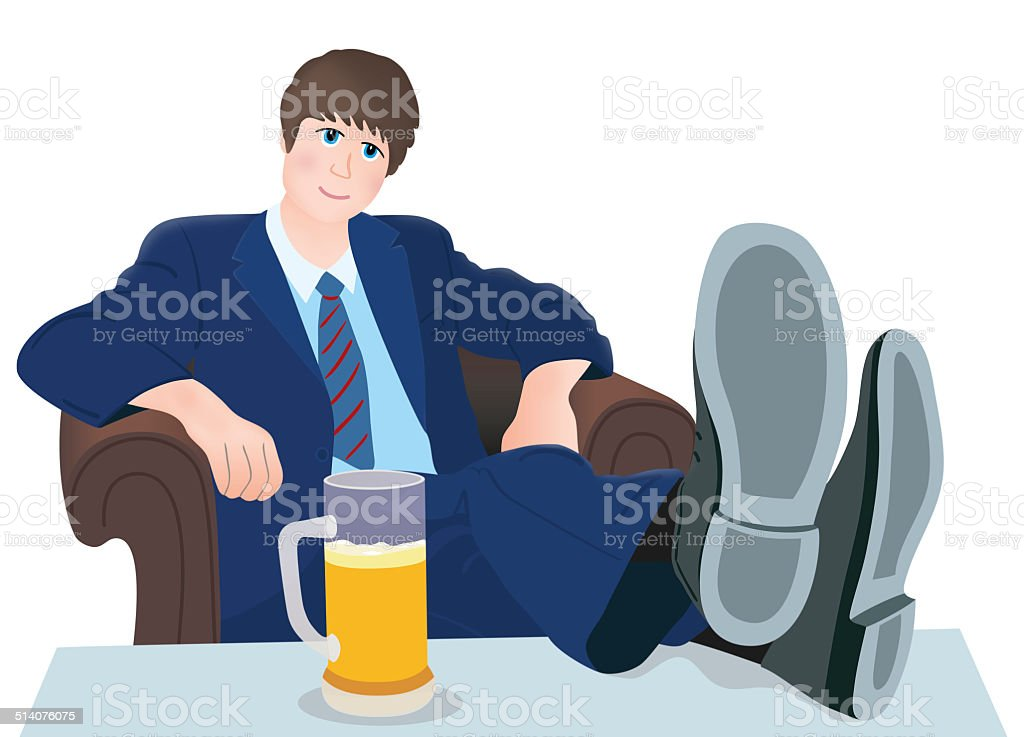 Relax man and drink royalty-free stock vector art