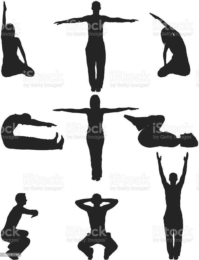Relaxation yoga men and women vector art illustration
