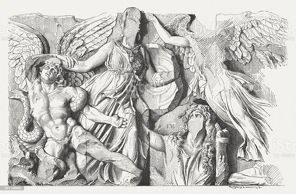 Relief from Pergamon Altar, published in 1881 vector art illustration
