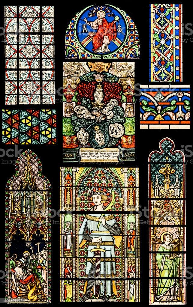 Religion motives on Stained Glass vector art illustration