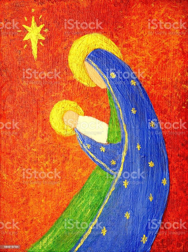 Religious: Abstract Christmas Nativity Art Painting vector art illustration