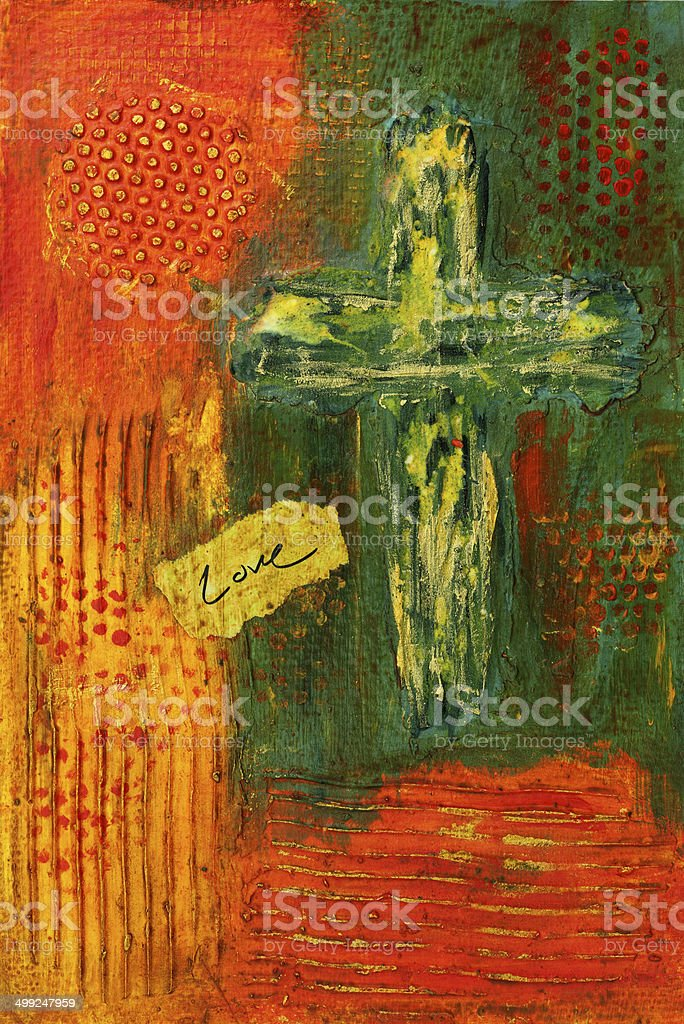 Religious: Abstract Textured Cross royalty-free stock vector art