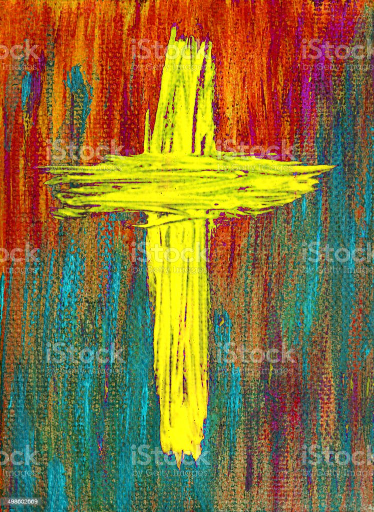 Religious: Abstract Yellow Painted Cross vector art illustration