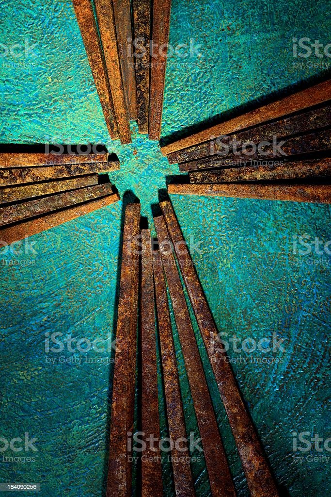 Religious: Cross of Old Square Rusty Nails with turquoise background vector art illustration