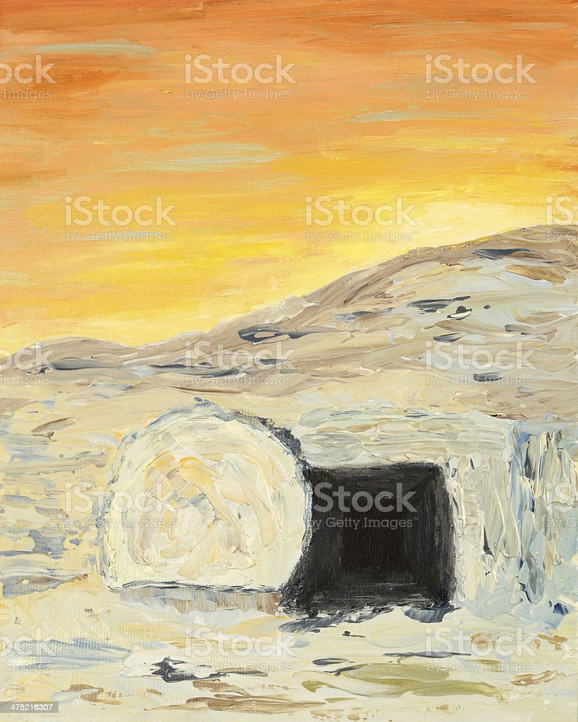 Religious: Easter Sunrise and Empty Tomb Art Painting vector art illustration