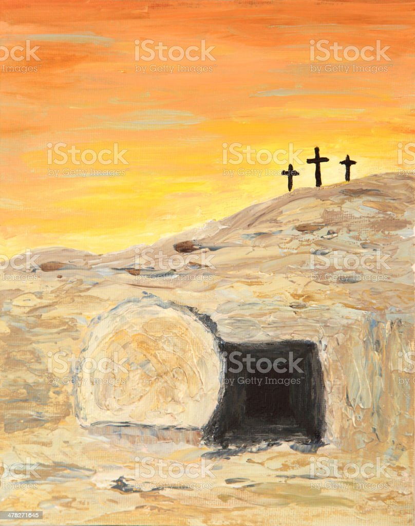 Religious: Easter Sunrise and Empty Tomb Art Painting with crosses royalty-free stock vector art