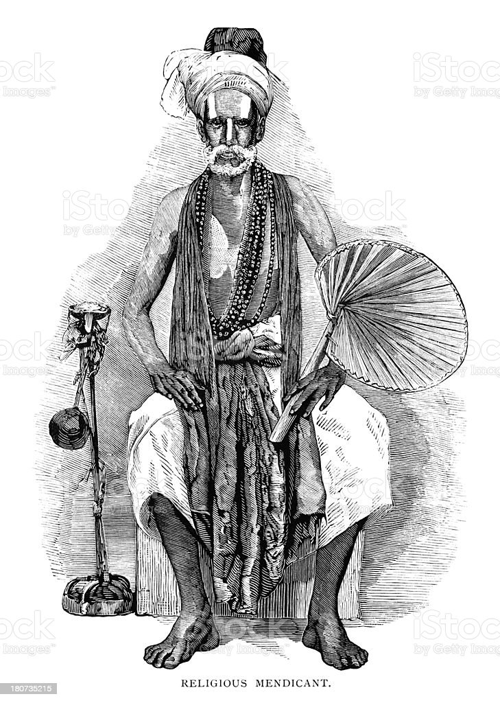 Religious mendicant in India - Victorian illustration royalty-free stock vector art