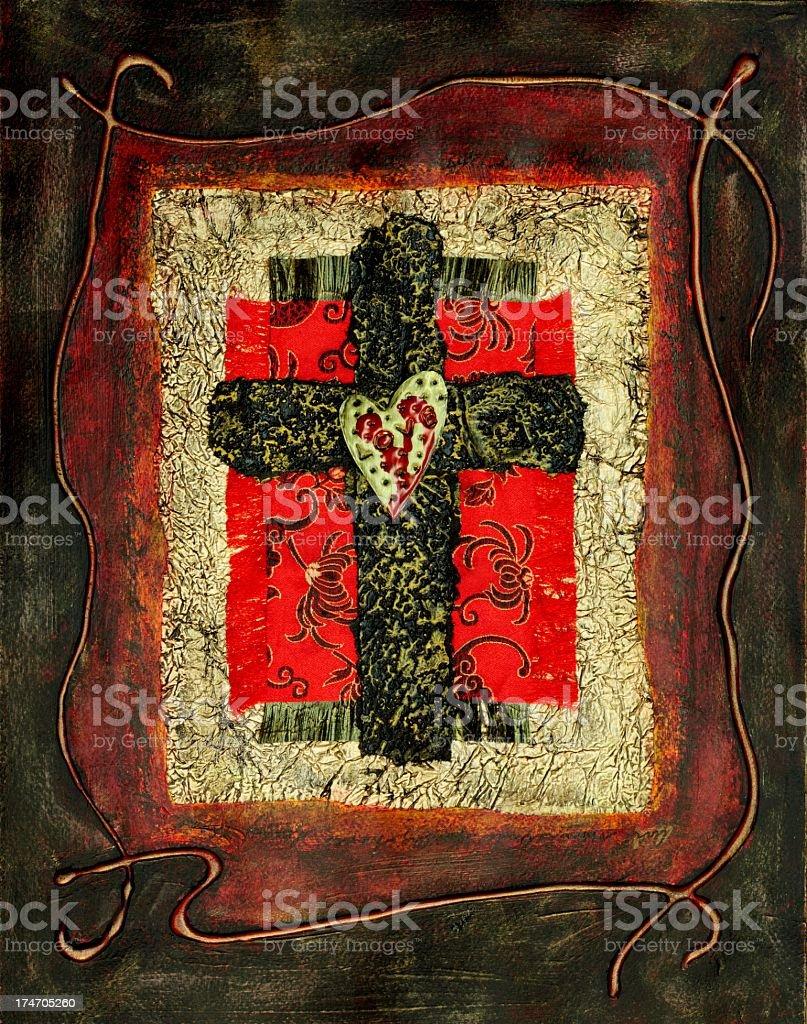 Religious: Mixed Media Cross Collage vector art illustration