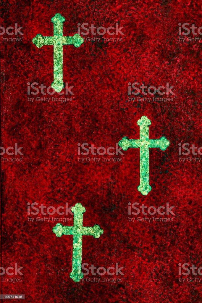 Religious: Mixed Media Cross Trio royalty-free stock vector art