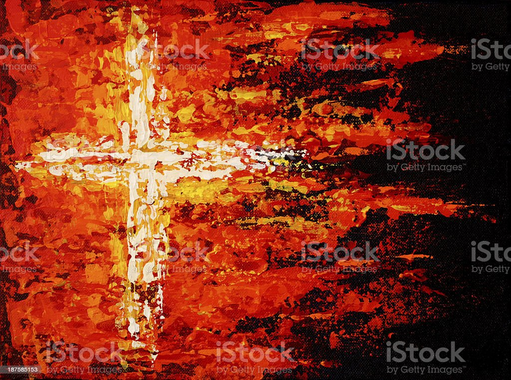 Religious painted cross on fire in red vector art illustration
