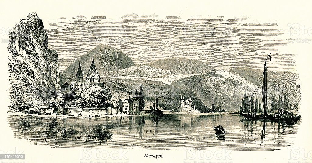 Remagen, Germany I Antique European Illustrations royalty-free stock vector art