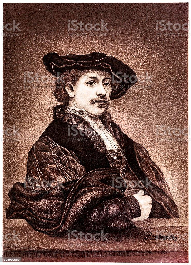 Rembrandt van Rijn vector art illustration