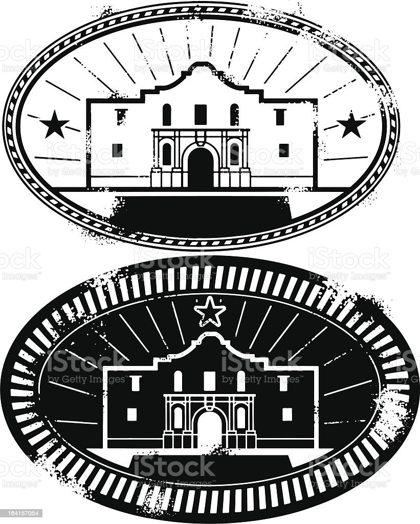 Remember the Alamo Stamp vector art illustration