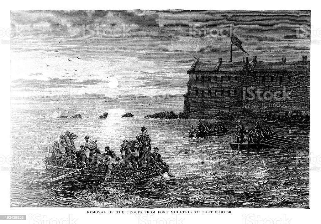 Removal of the troops from Fort Moultrie vector art illustration
