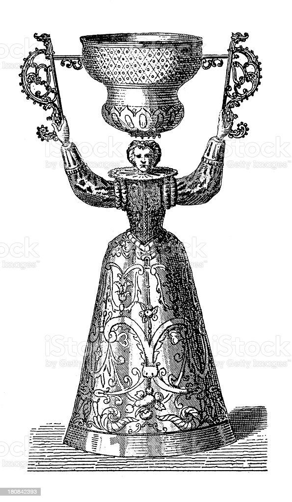 Renaissance cup (antique wood engraving) royalty-free stock vector art