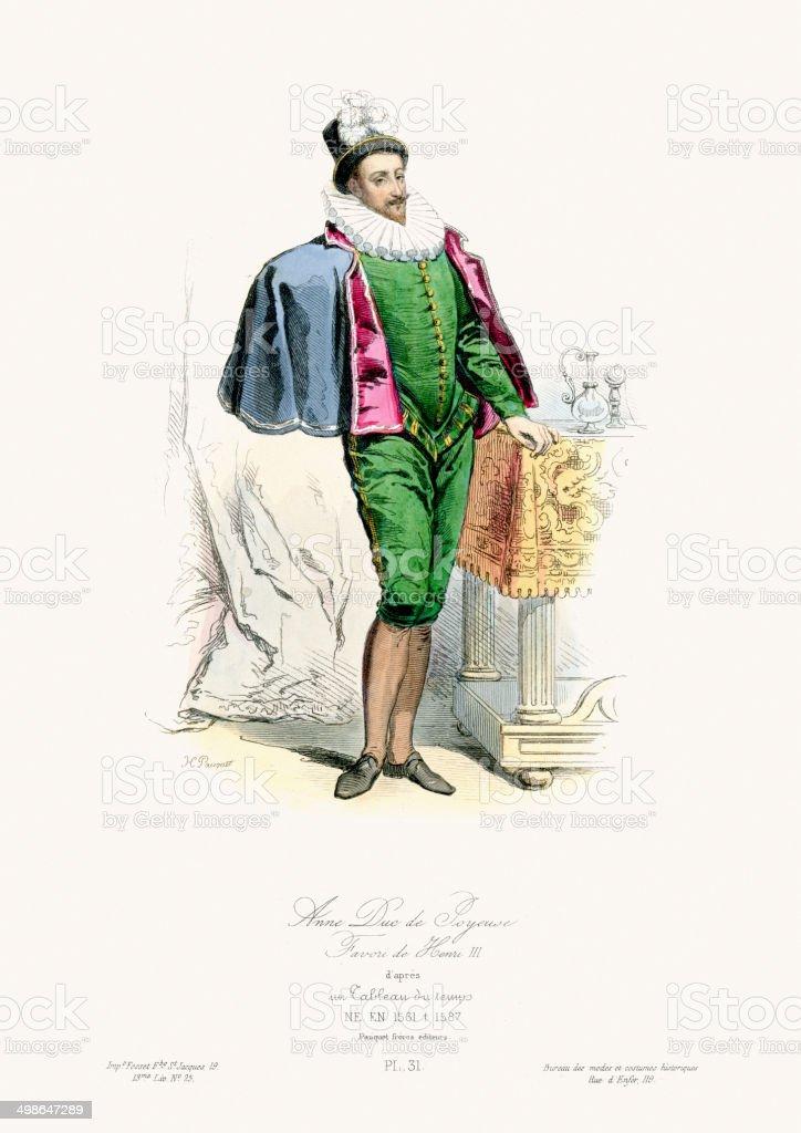 Renaissance Fashion - Anne de Joyeuse royalty-free stock vector art