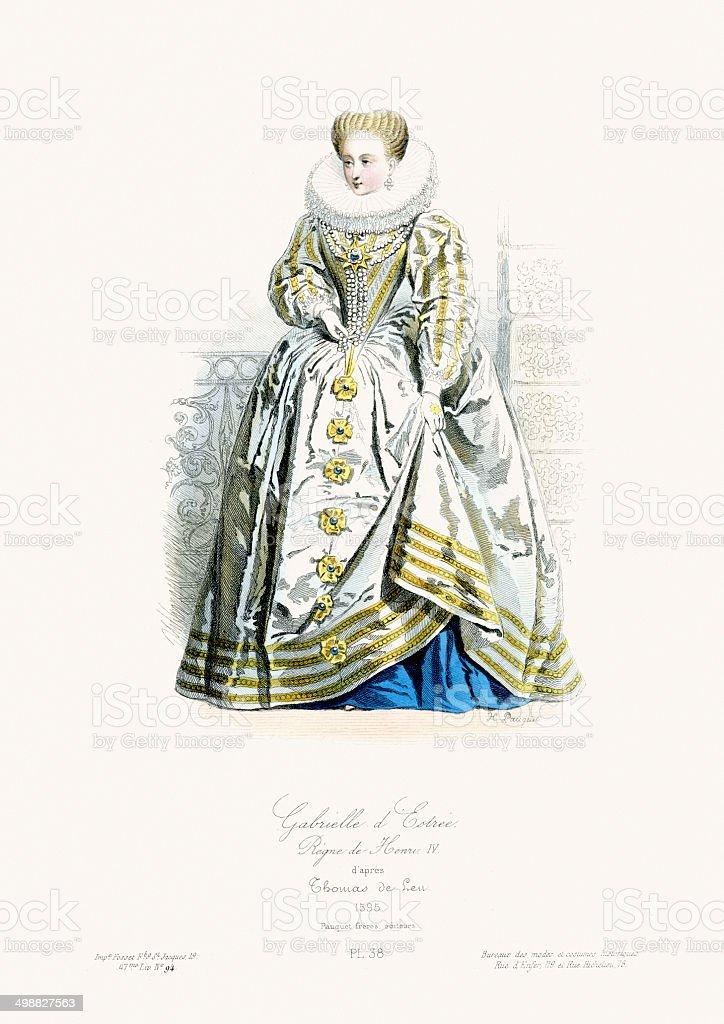 Renaissance Fashion - Gabrielle d'Estrees royalty-free stock vector art