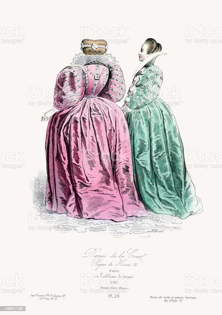 Renaissance Fashion - Ladies of the court royalty-free stock vector art